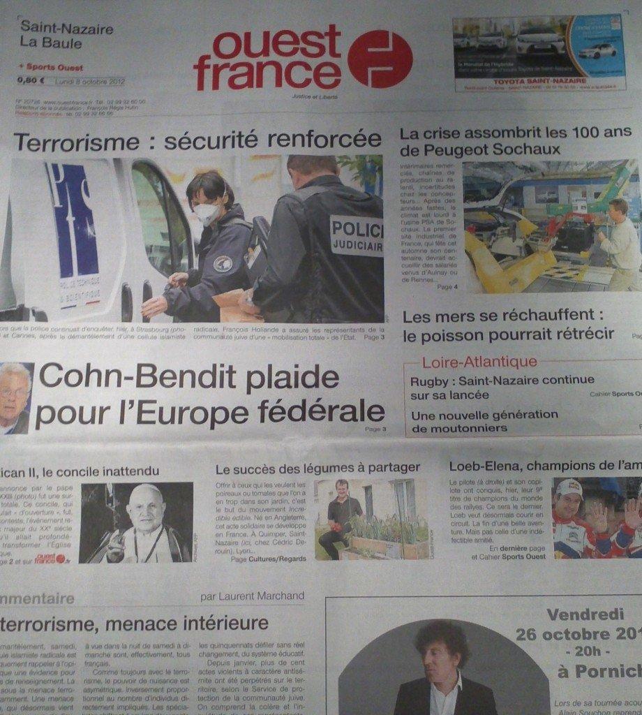 Ouest-France du 9 octobre 2012 (édition nationale) dans Revue de Presse img407